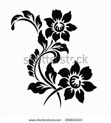 Floral motif clipart jpg freeuse download Flower motif for design | tattoo | Stencil patterns, Motif design ... jpg freeuse download