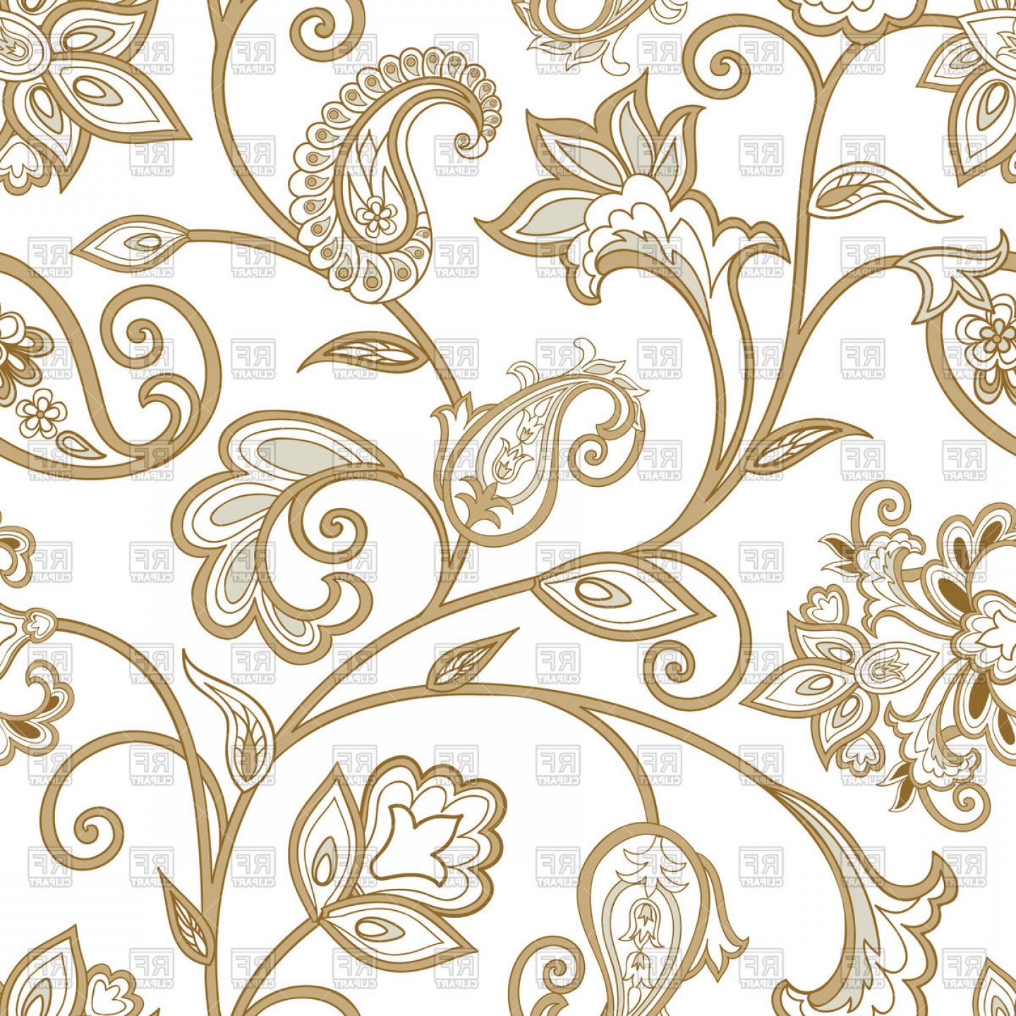Floral pattern vector clipart. Ethnic with curly flourish