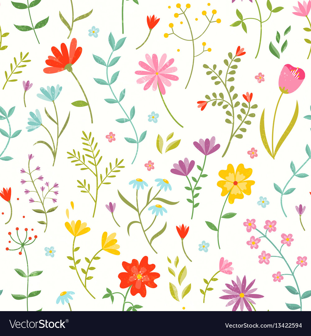 Floral pattern vector clipart. Cute seamless with spring