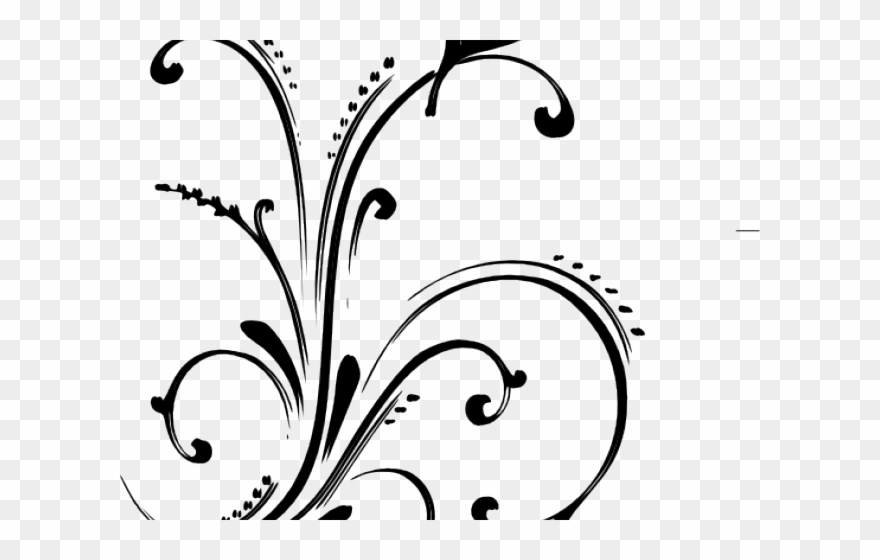 Simple vector png flower. Floral scroll clipart