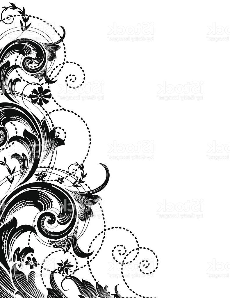 Floral scroll clipart. Top flower vector design