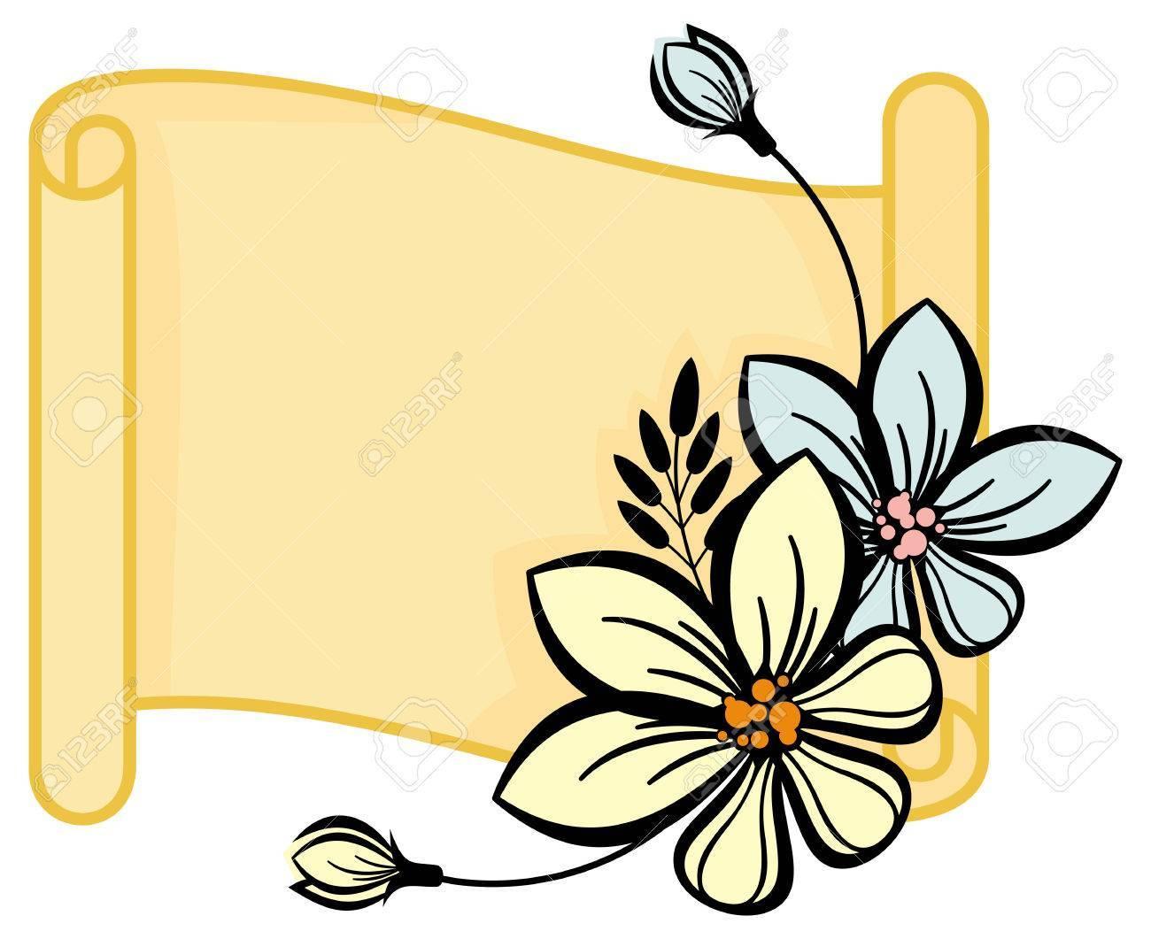 Flower portal . Floral scroll clipart