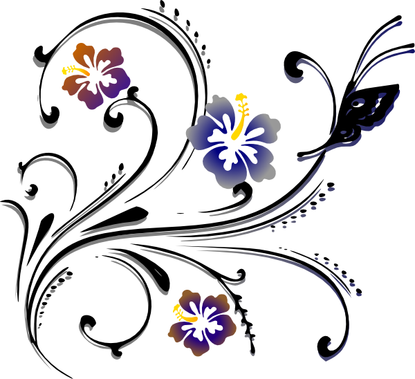 Floral scroll clipart. Free cliparts color download
