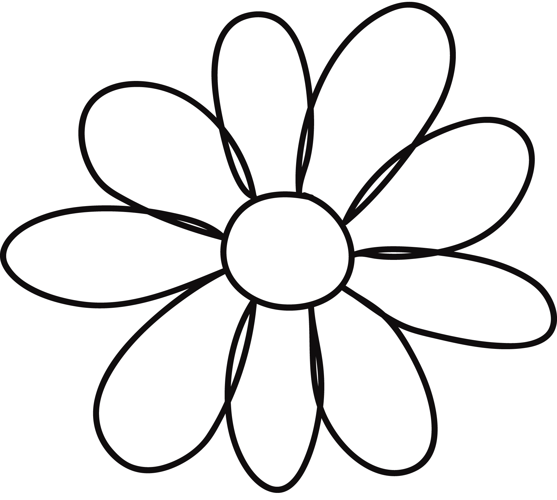 Floral template clipart. Printable flower stencil