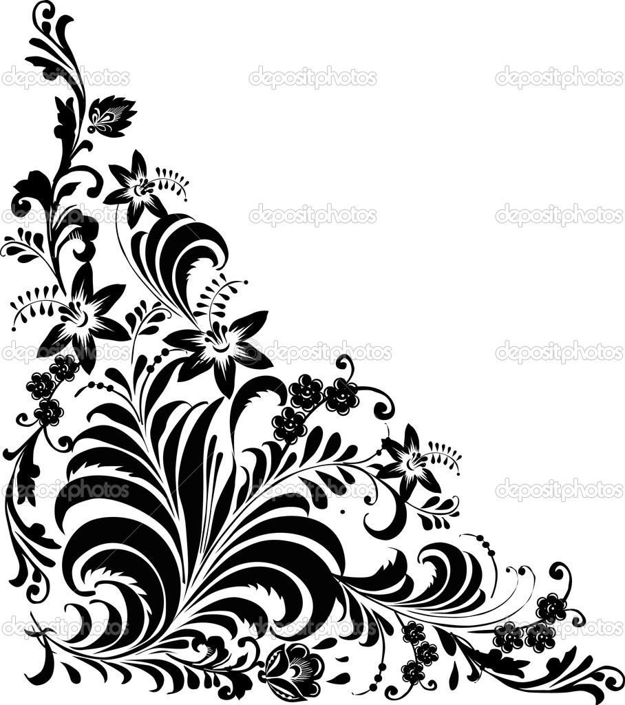 Floral vector corner clipart jpg stock 15 Corner Flower Vector Black Images - Floral Pattern Vector Corner ... jpg stock