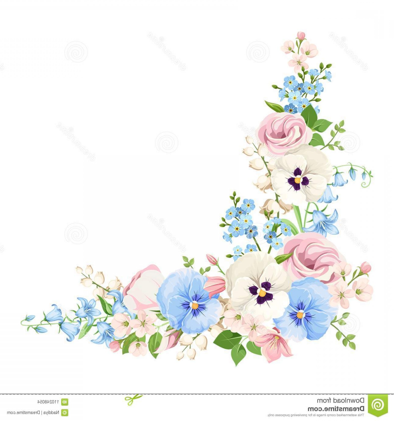 Floral vector corner clipart clip art royalty free Vector Corner Background Pink Blue White Spring Flowers Pink Blue ... clip art royalty free