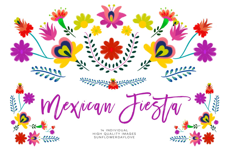 Floran clipart. Fiesta mexican watercolor floral