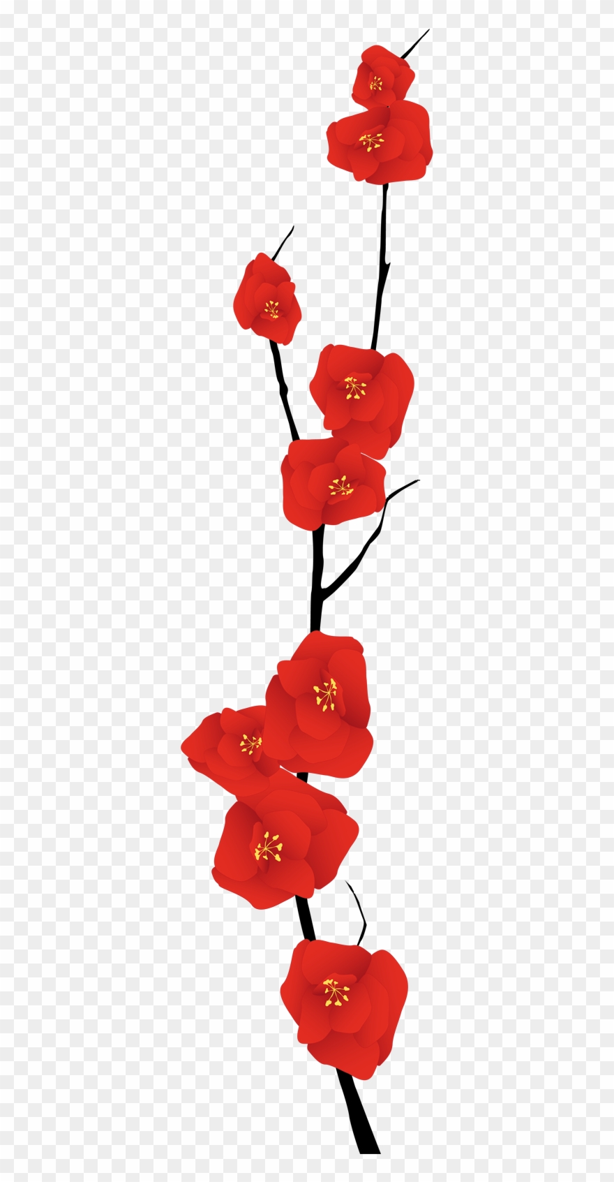 Flores rojas clipart freeuse stock Red Flowers Branch Decal - Ramas Con Flores Rojas Clipart (#2049147 ... freeuse stock
