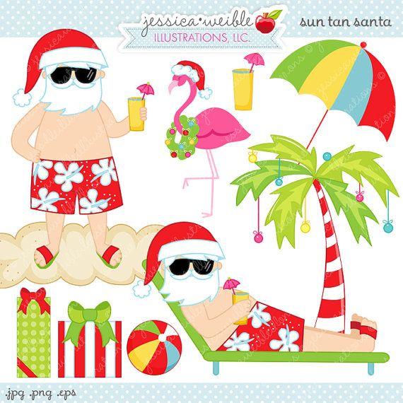 Florida christmas clipart free. Sun tan santa cute