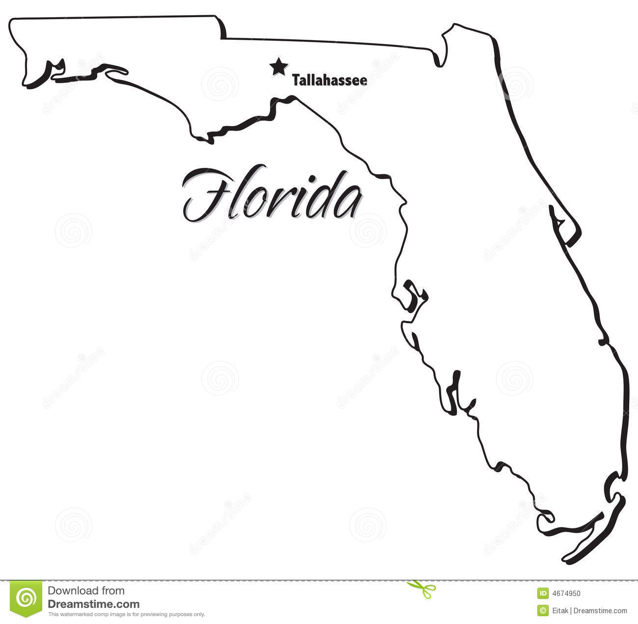 Florida state map clipart banner black and white library Outline Map Of Florida State With Florida Map Clipart ~ Free ... banner black and white library