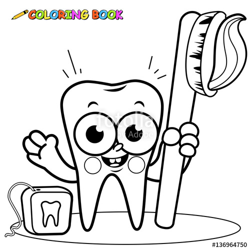 Floss clipart in teeth black and white clip freeuse library Tooth cartoon character holding toothbrush and dental floss.\