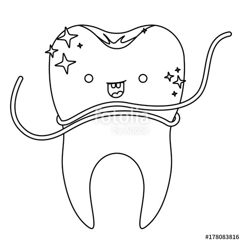 Floss clipart in teeth black and white graphic royalty free stock kawaii tooth with root and dental floss around in monochrome ... graphic royalty free stock