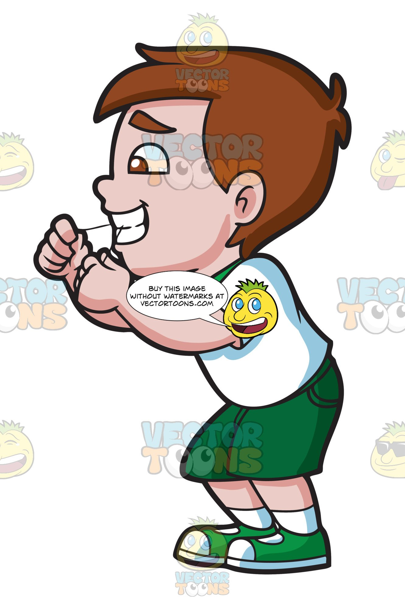 Flossing teeth clipart clip library A Happy Boy Flossing His Teeth clip library