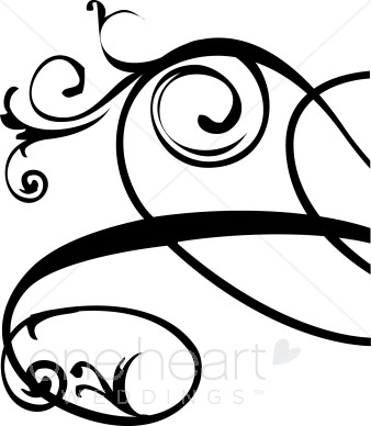 Flourish clipart black and white vector transparent stock Black and White Right Edge Floral Flourish Clipart | Wedding Flourish vector transparent stock