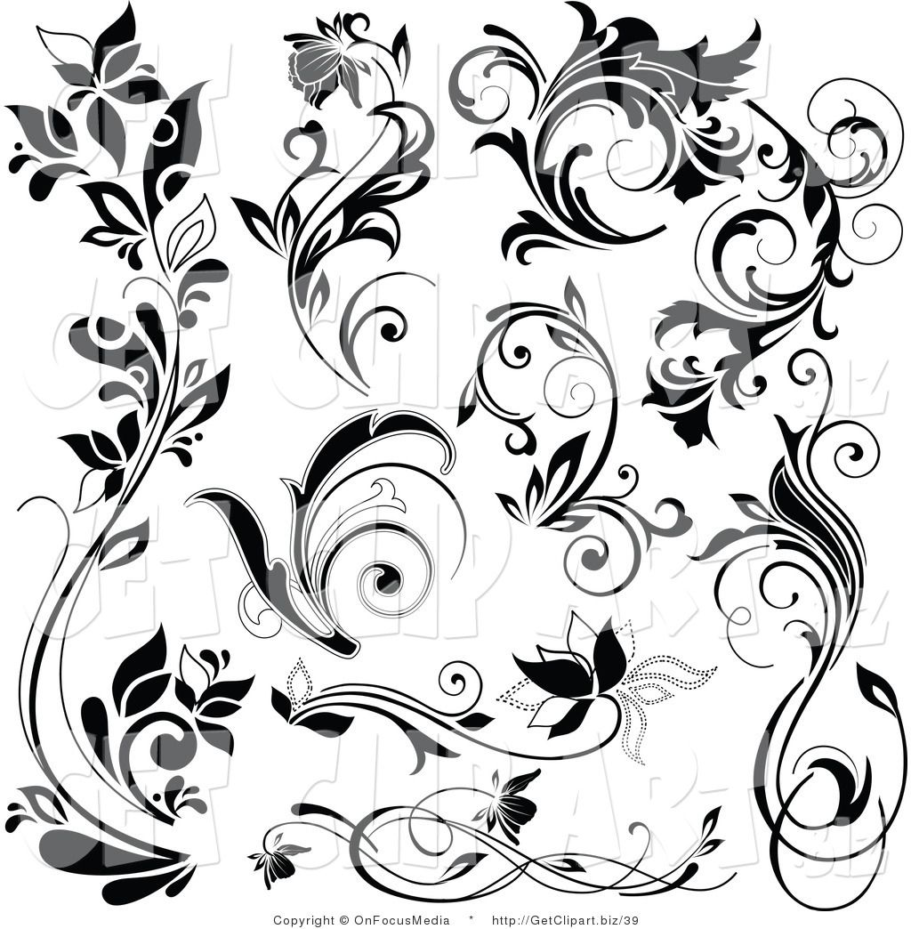 Free black and white clipart images filagree design image download Free Flourish Clip Art Black and White | Royalty Free Floral Stock ... image download