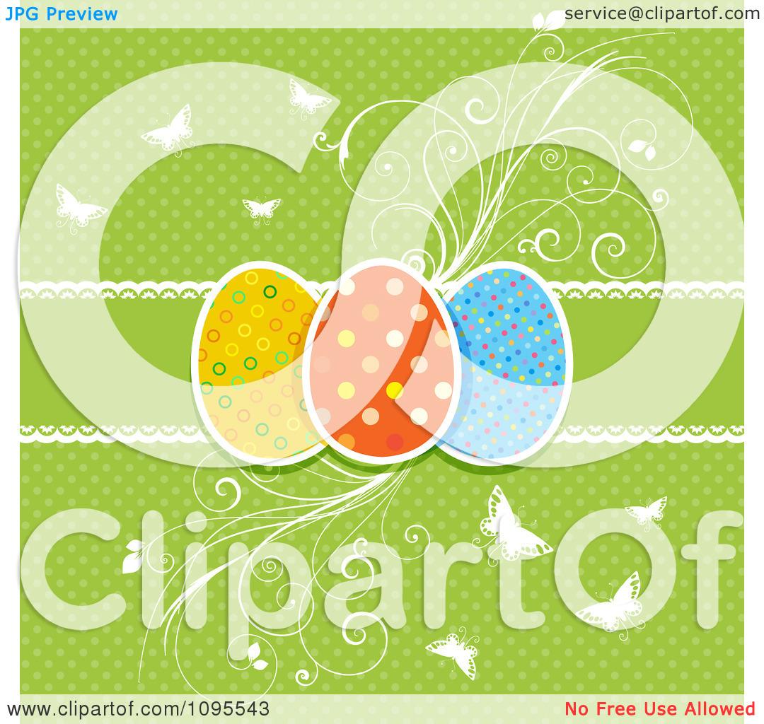 Flourish easter egg clipart jpg freeuse download Clipart Retro Green Polka Dot Easter Egg Background With ... jpg freeuse download