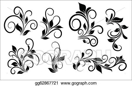 Flourish swirls clipart png black and white Vector Illustration - Flourish swirls vector elements. Stock Clip ... png black and white