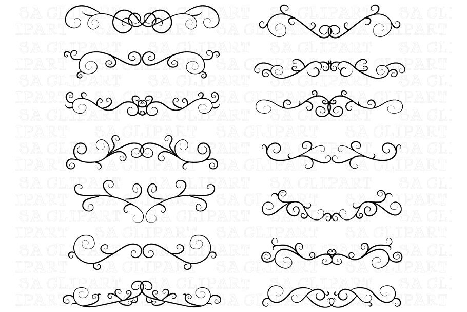 Swirl frame clipart clip transparent library Flourish Swirl Border Frame Clipart clip transparent library