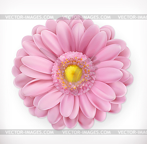 Flowers 3d clipart vector library stock Spring pink flower, 3d icon - color vector clipart vector library stock