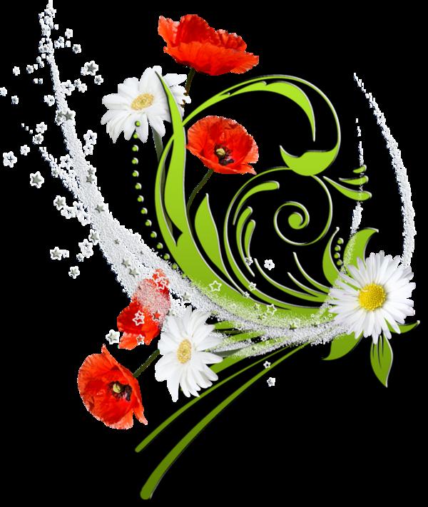 Fleurs bouquets flowers flores. Flower accents clipart