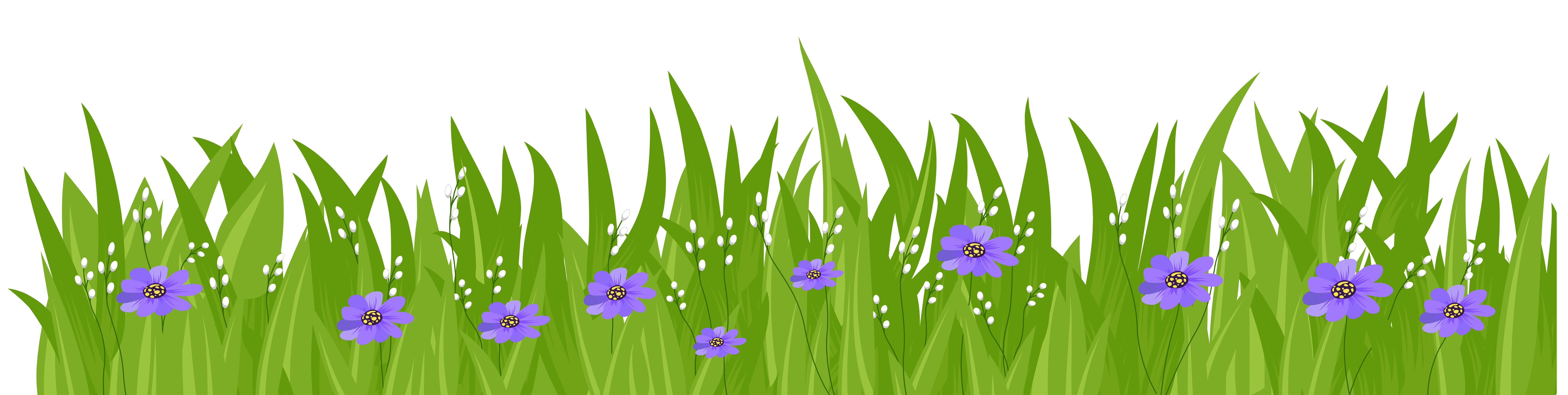 Flower and grass clipart png freeuse download Grass with Purple Flowers Transparent PNG Clip Art Image | Gallery ... png freeuse download