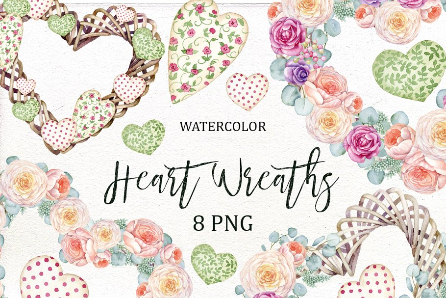 Flower and heart wreath clipart svg royalty free stock Watercolor floral Heart Wreath svg royalty free stock