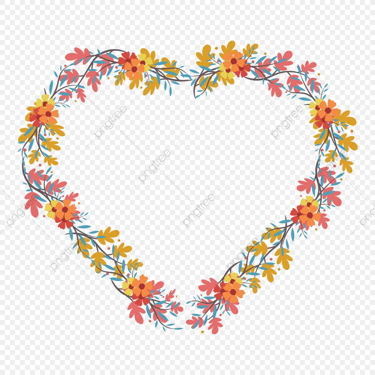 Flower and heart wreath clipart. Flat shape of vector