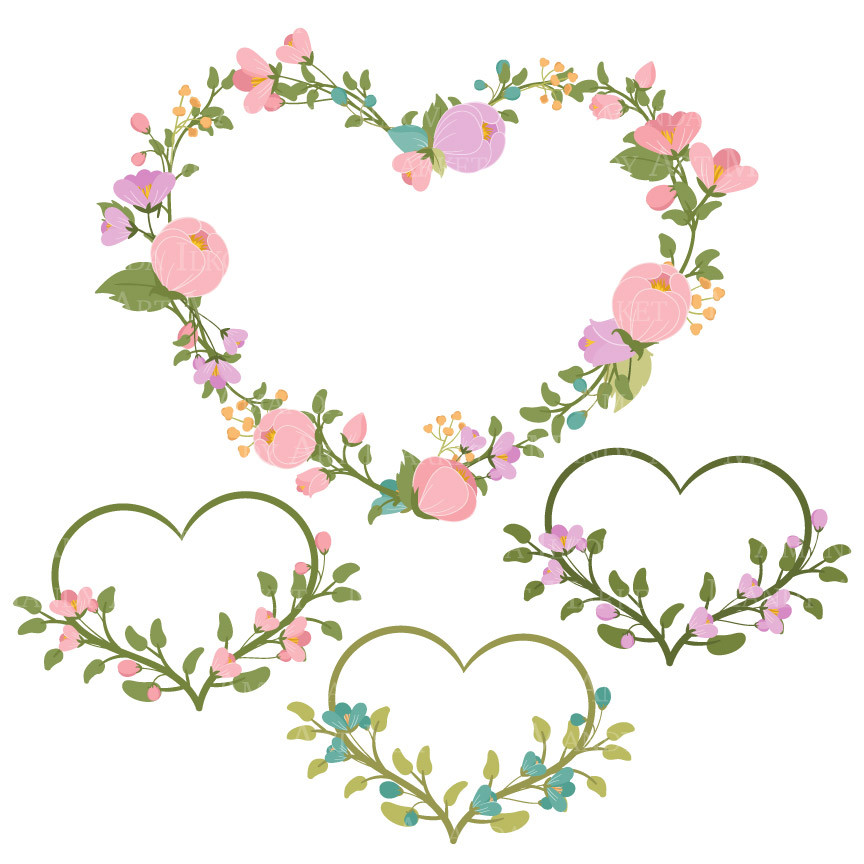 Flower and heart wreath clipart clipart black and white Floral Heart Wreaths Clipart in Garden Party   Mandy Art Market ... clipart black and white
