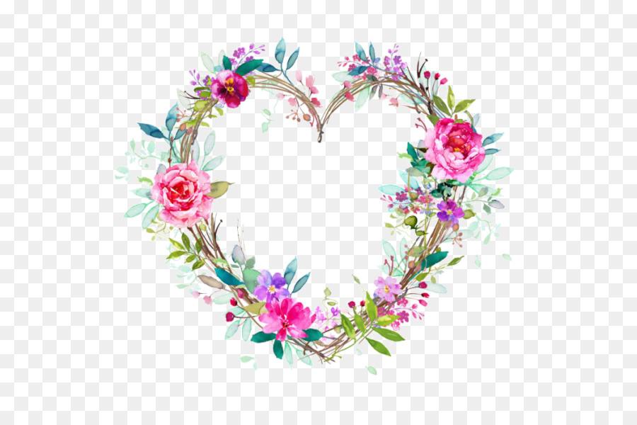Flower and heart wreath clipart vector transparent Watercolor Flower Wreath clipart - Flower, Wreath, Heart ... vector transparent