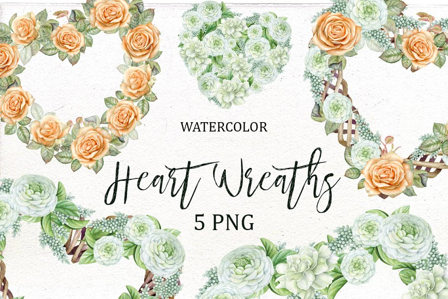 Flower and heart wreath clipart banner black and white Valentine\'s Heart Wreath Clipart banner black and white