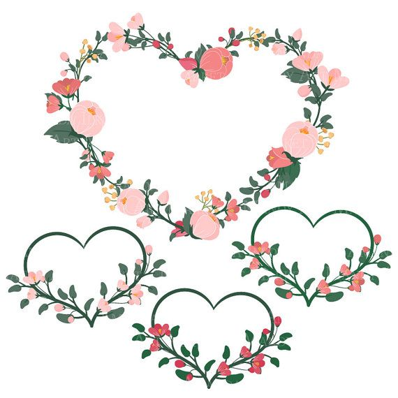 Flower and heart wreath clipart graphic royalty free library Emma Floral Heart Clipart & Vectors in Rose Garden - pink flowers ... graphic royalty free library