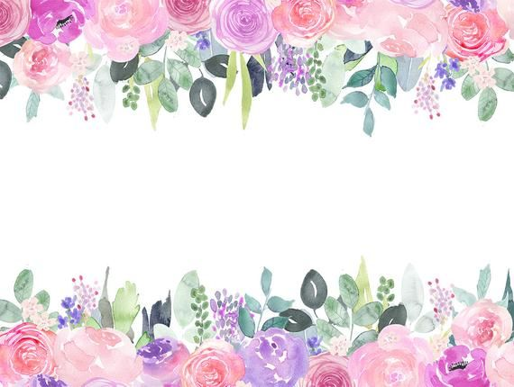 Flower and jewel cliparts image library Watercolor Floral Clip Art, Pink and purple rose flower frames ... image library