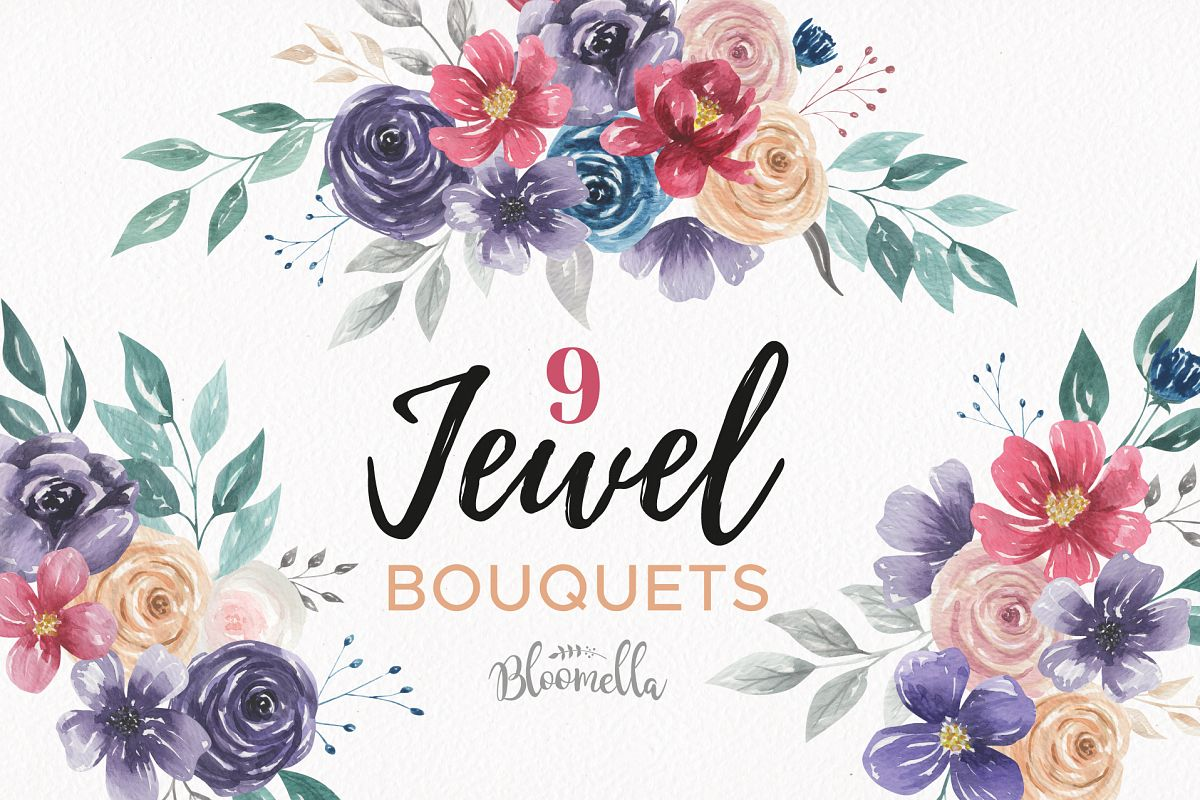 Flower and jewel cliparts clip library download Watercolor Jewel Clipart Bouquets Flowers Deep Red Burgendy Navy Florals clip library download