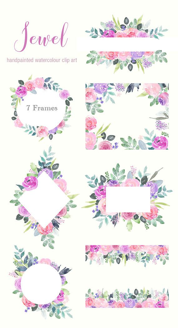 Flower and jewel cliparts image library download Watercolor Floral Clip Art, Pink and purple rose flower frames ... image library download