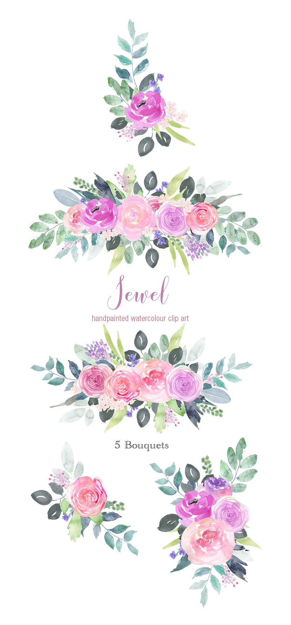 Flower and jewel cliparts graphic royalty free stock Flower Clip Art - Purple Pink Rose, Violet Floral Clipart, Digital ... graphic royalty free stock