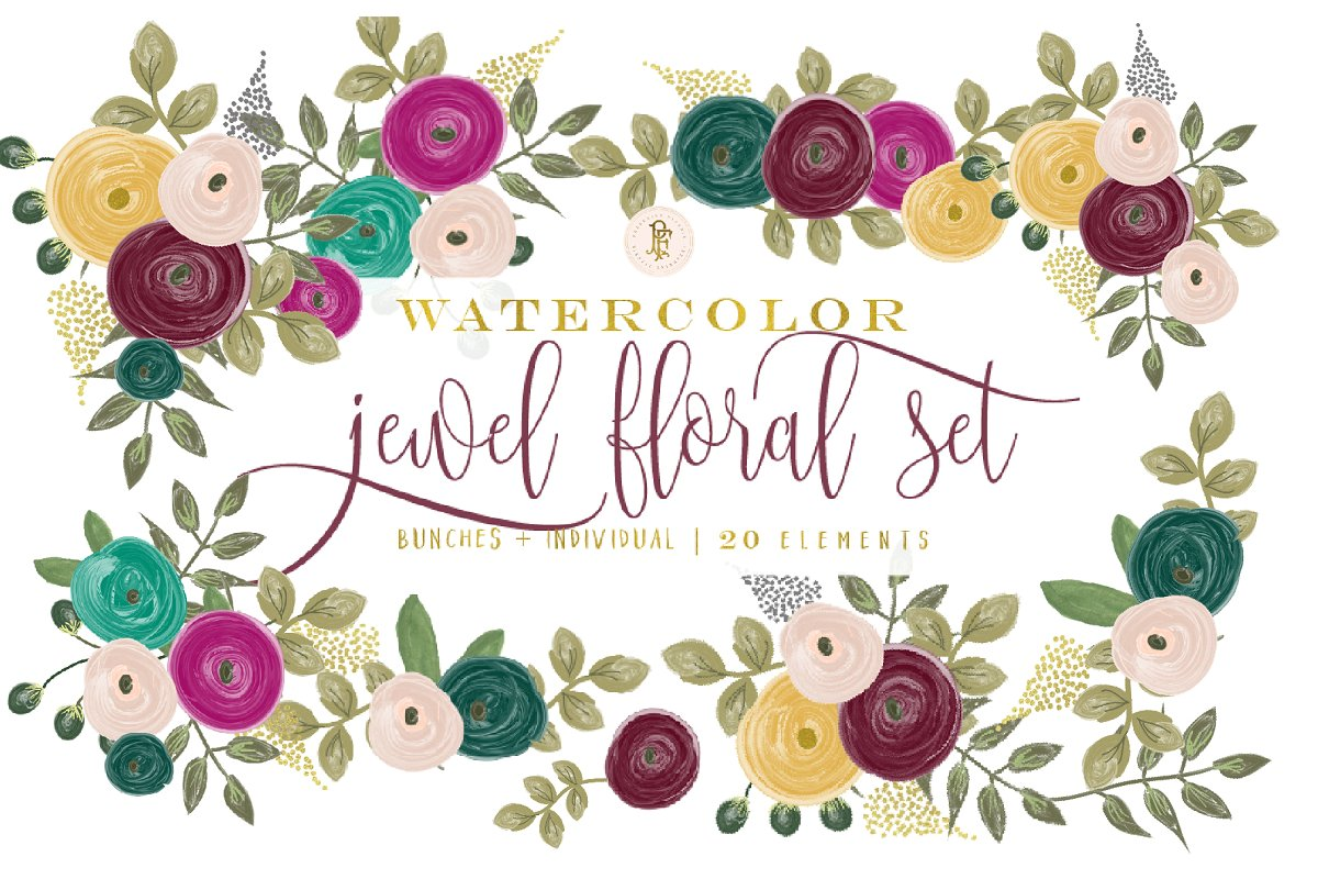 Flower and jewel cliparts graphic royalty free download Jewel tone watercolor floral clipart graphic royalty free download