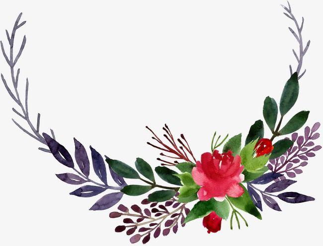 Flower and leaf clipart png royalty free download Watercolor Corner Flower Leaves, Corner Clipart, Flower Clipart ... png royalty free download