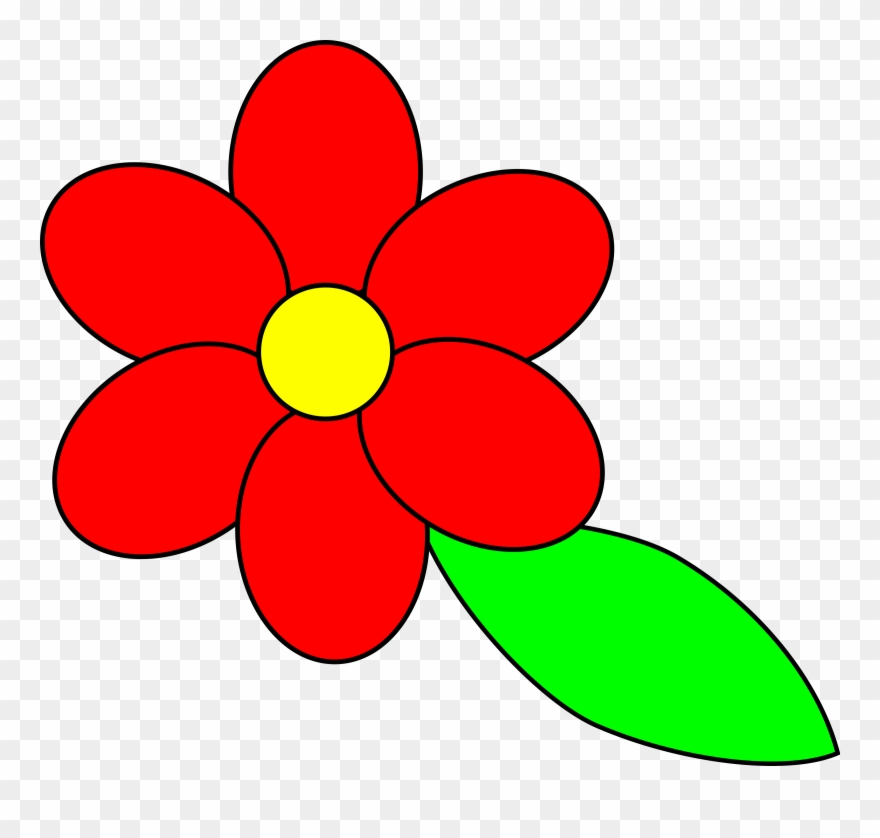 Flower and leaf clipart jpg royalty free library Flower Six Red Petals Black Outline Green Leaf - Cartoon Flowers And ... jpg royalty free library