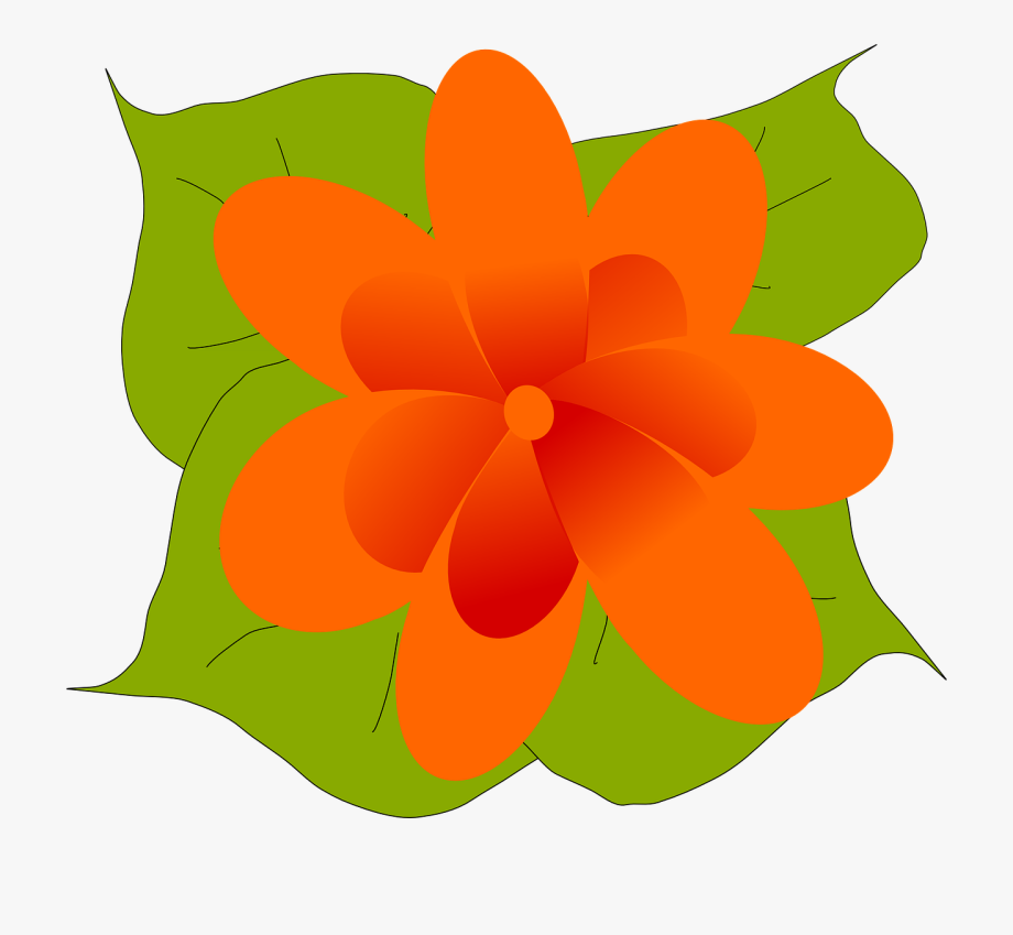 Flower and leaf clipart clip black and white stock Orange Flower Bloom Blossom Png Image - Flower And Leaf Clipart ... clip black and white stock