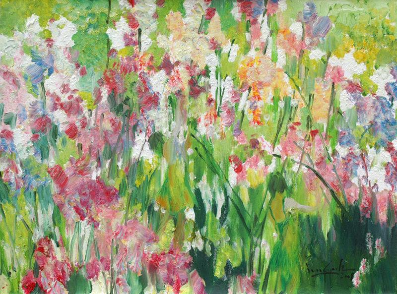 Flower artwork images clip art transparent Beauties in the Flower Garden Original Art by U Lun Gywe :: PicassoMio clip art transparent