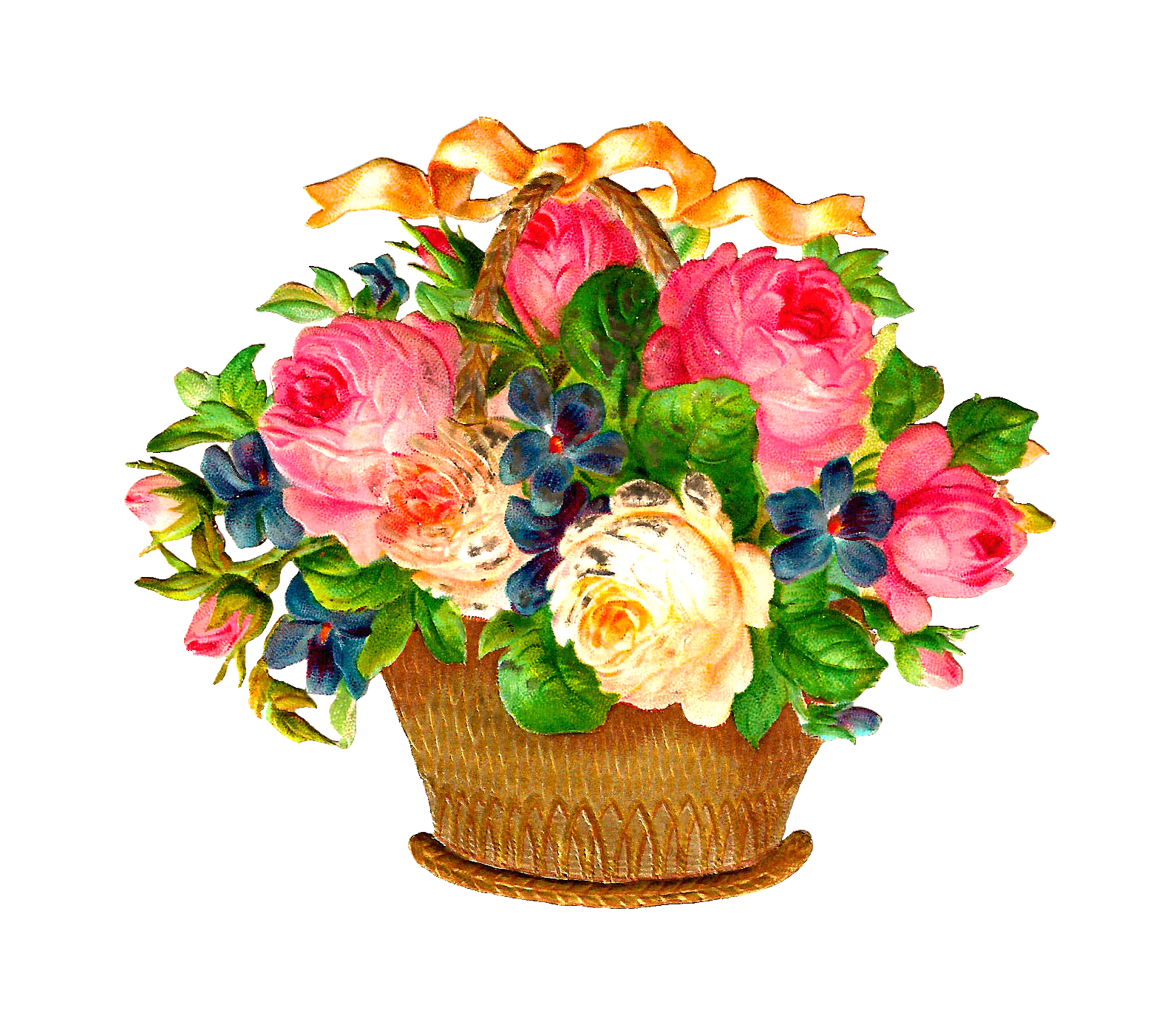Flower baskets clipart image free download Antique Images: Free Flower Basket Graphic: Pink and White Roses and ... image free download