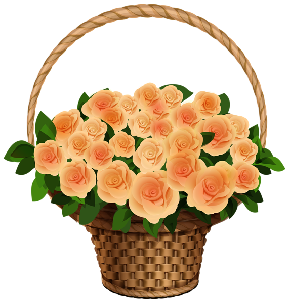 Flower baskets clipart jpg free download Basket with Yellow Roses PNG Clipart Image | Flowers | Pinterest ... jpg free download