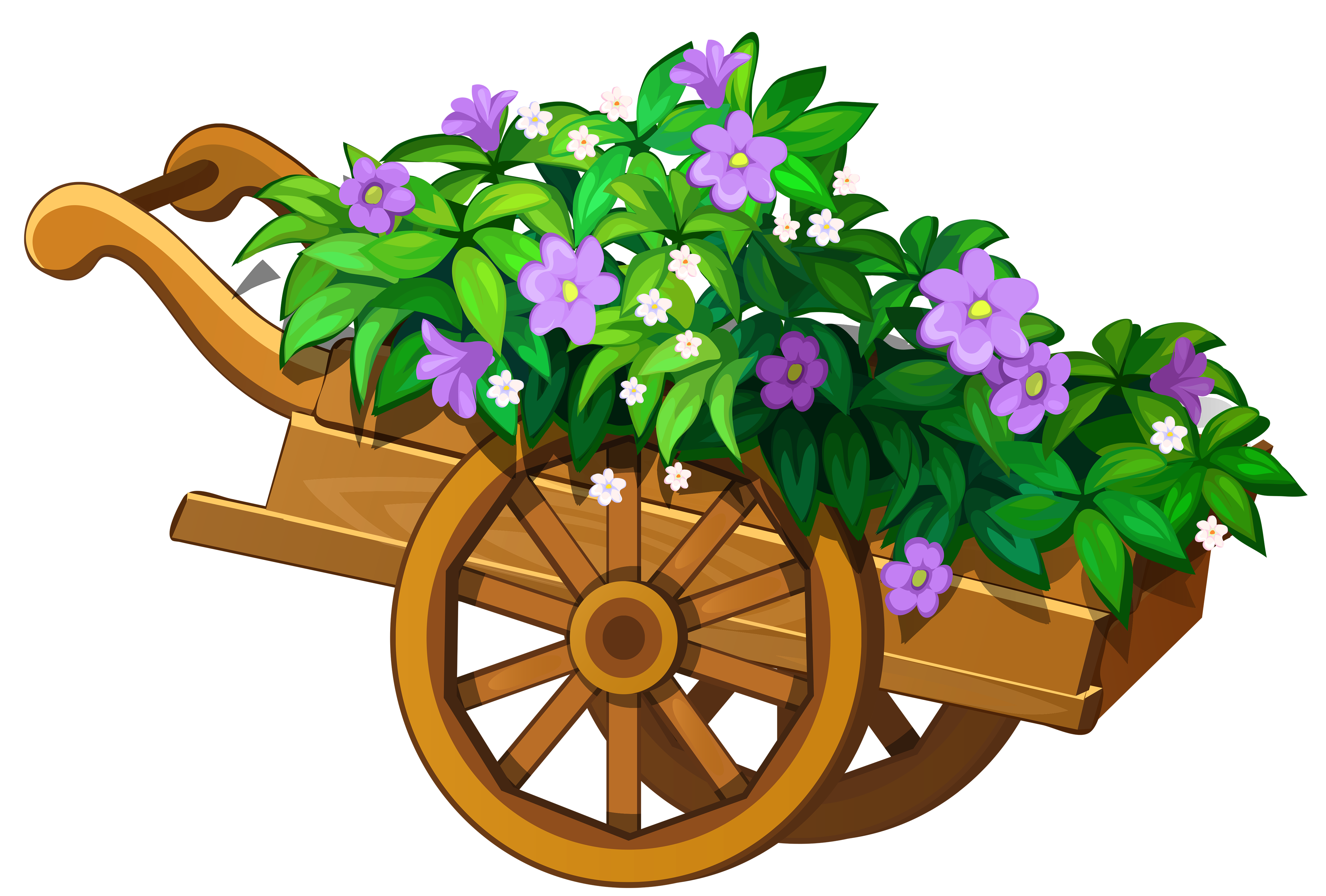 Flower bed clipart clipart freeuse download Wooden Garden Wheelbarrow with Flowers PNG Clipart the garden ... clipart freeuse download