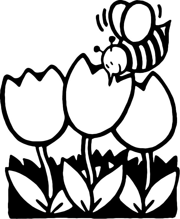 Free cartoon flowers download. Flower bee and butterfly black and white clipart