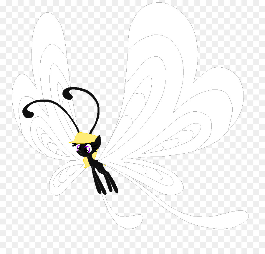Flower bee and butterfly black and white clipart. Png download free transparent