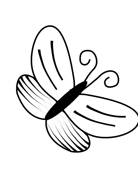 Free simple download clip. Flower bee and butterfly black and white clipart