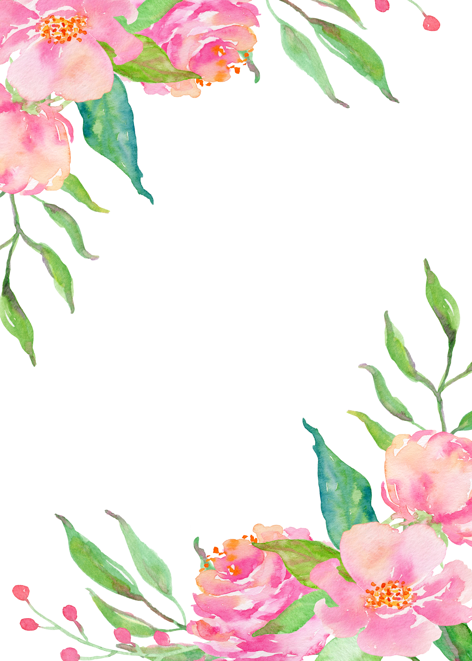 Flower border download clipart black and white library Pink flower borders 1500*2100 transprent Png Free Download - Pink ... clipart black and white library