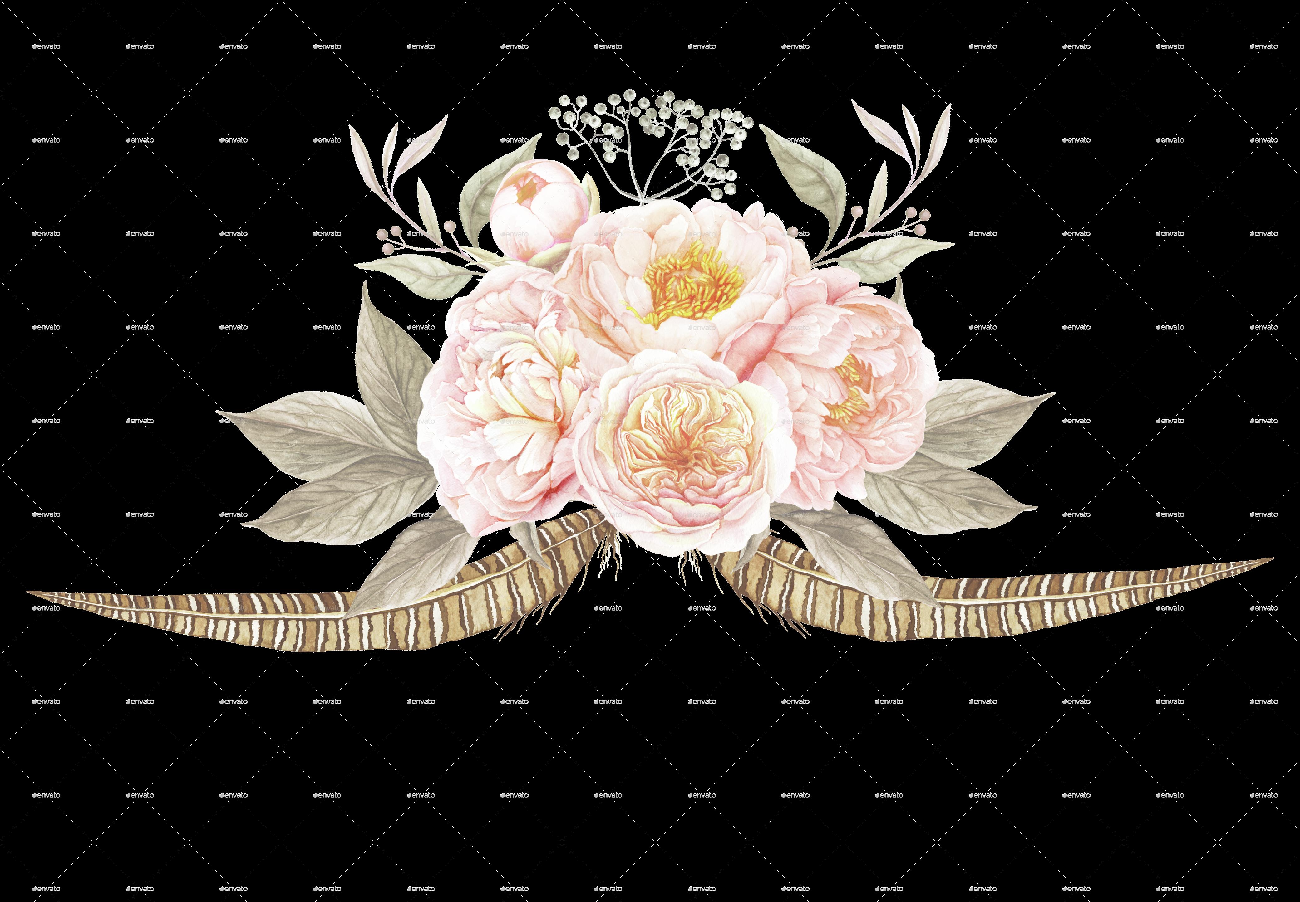 Flower bouquet border clipart clip 6 vintage floral bouquets by larabriffa   GraphicRiver clip