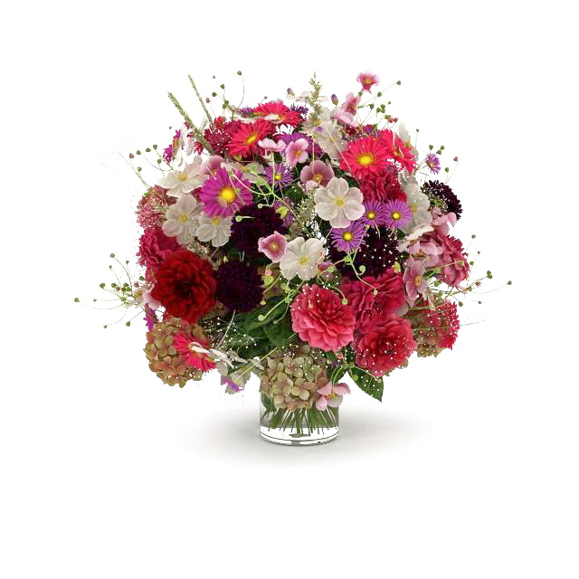 Flower bouquet images free download picture royalty free download Bouquet of flowers in glass vase 3d model 3ds max files free ... picture royalty free download