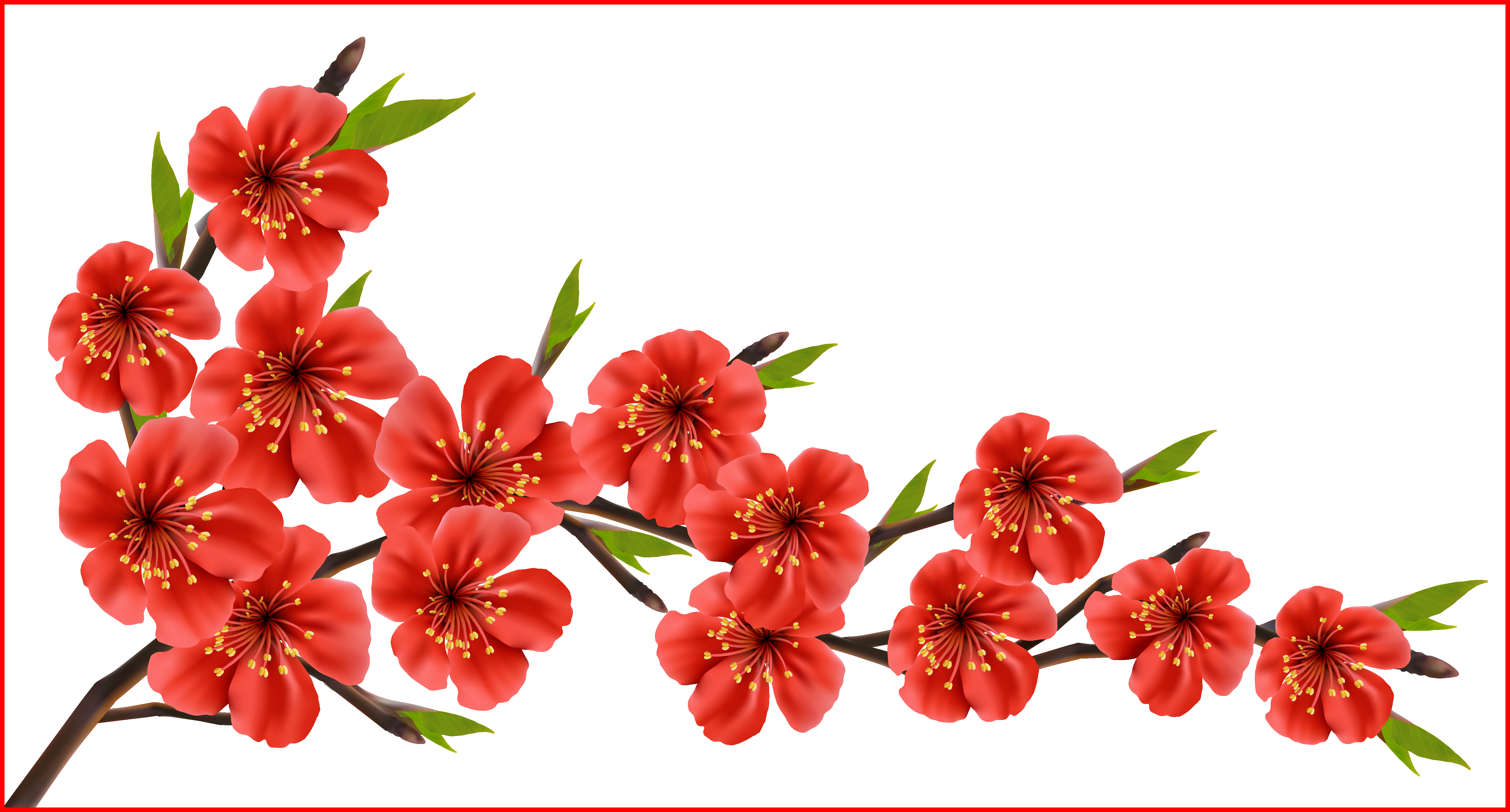 Flower branches clipart png black and white library Fascinating Red Spring Branch Png Clipart Image Leaves U Branches ... png black and white library